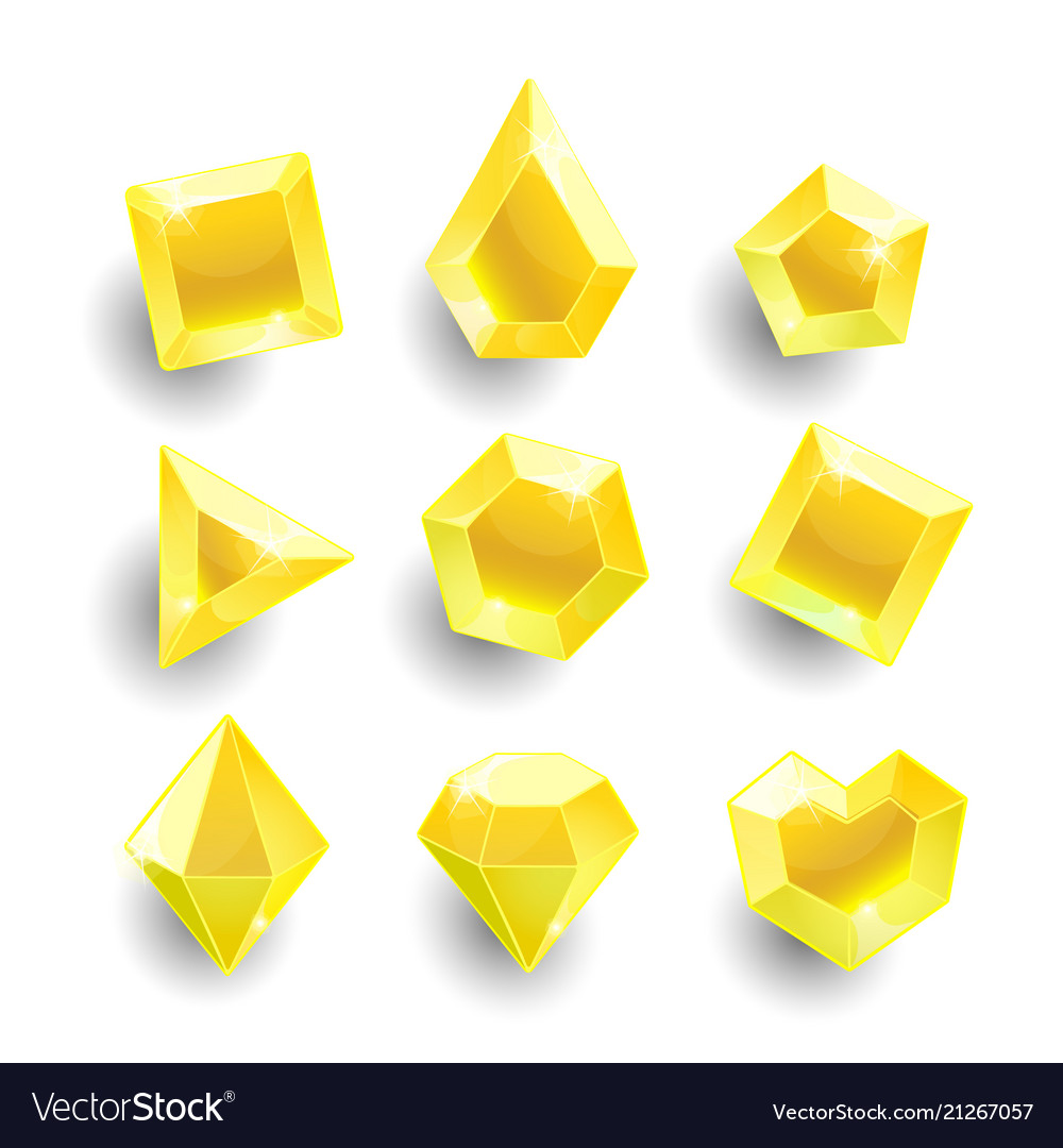 Cartoon yellow different shapes crystals.
