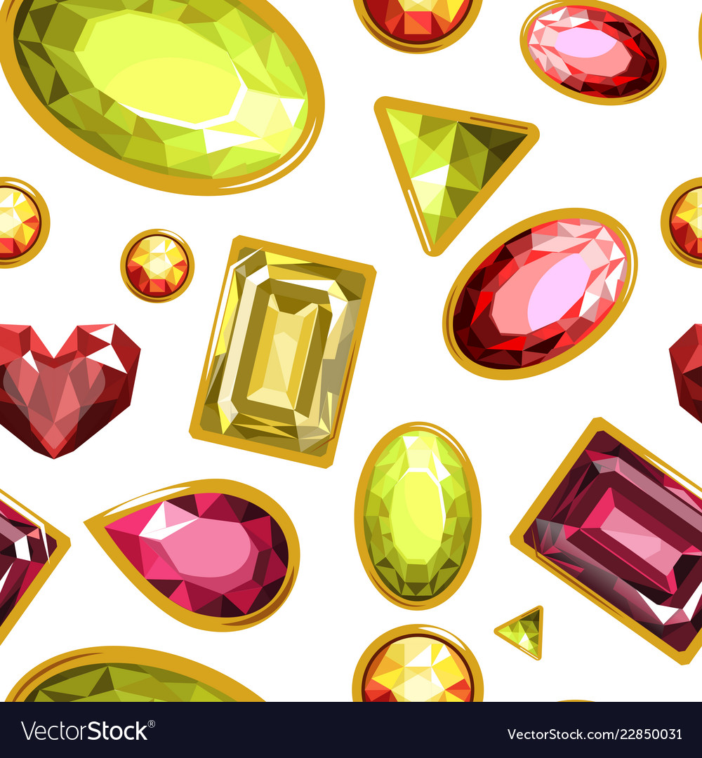 Gems and diamonds precious stones seamless.
