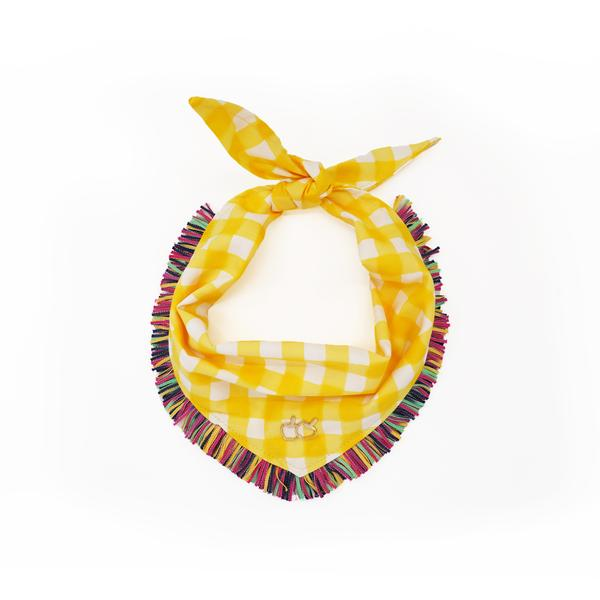 Yellow Gingham Bandana.