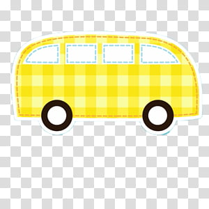 COLLECT CUTE, yellow van gingham sticker transparent.