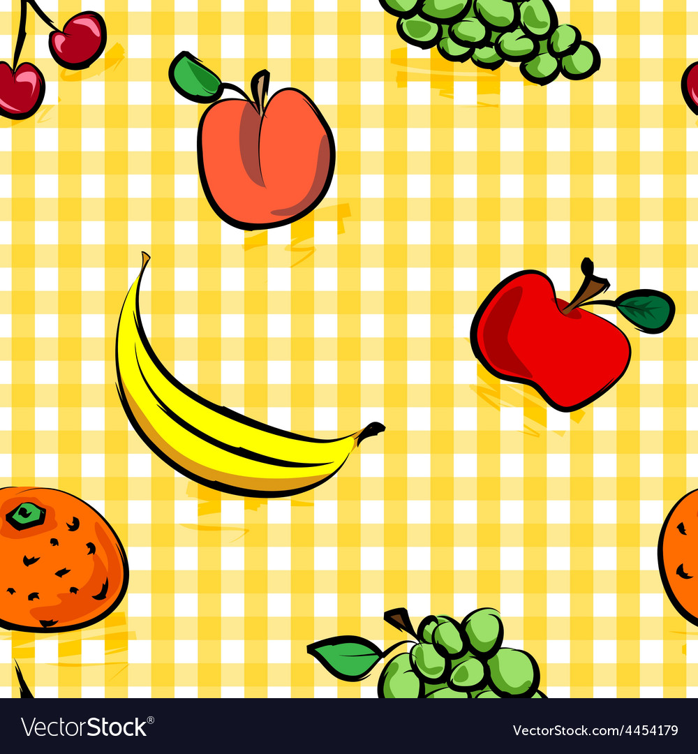 Seamless grungy fruits over yellow gingham pattern.