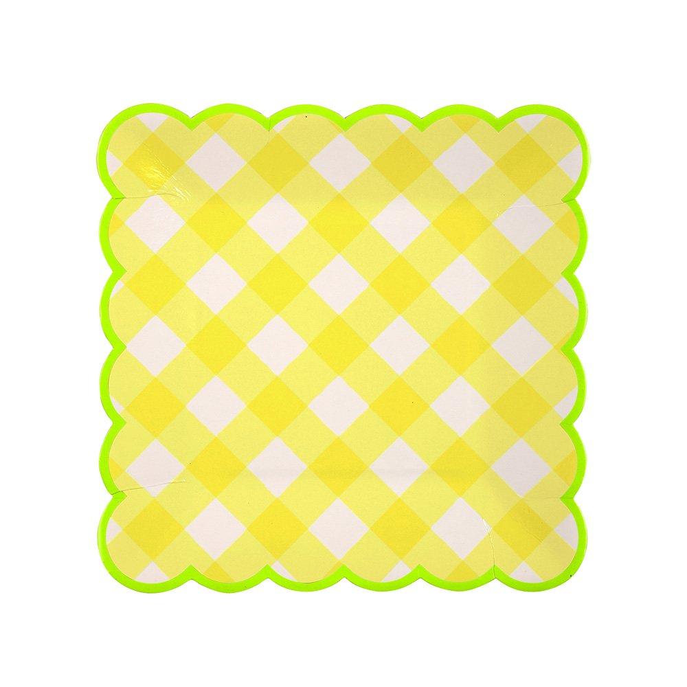 Amazon.com: Meri Meri Yellow Gingham Small Plates: Kitchen.