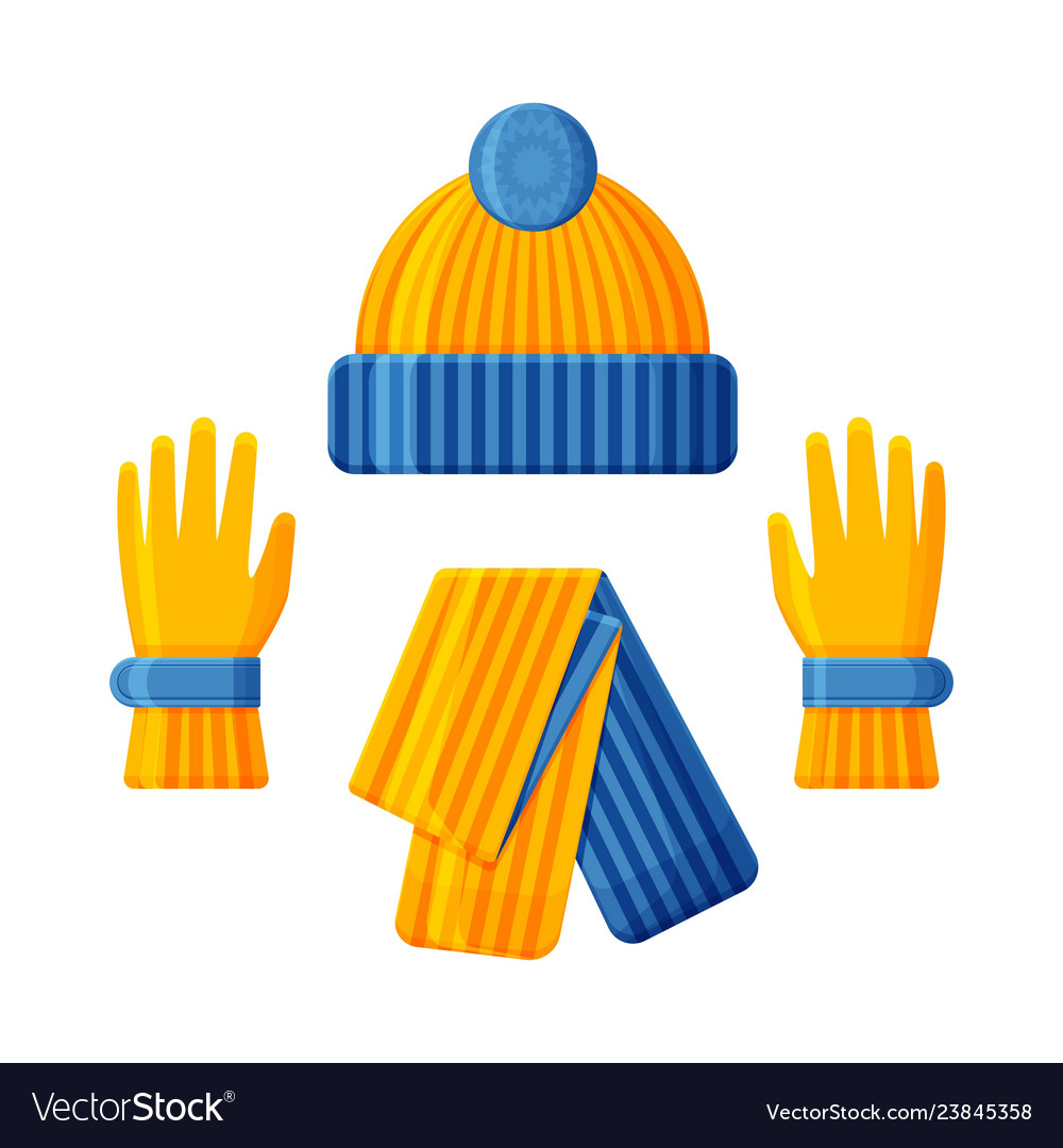 Blue yellow hat with scarf and gloves set winter.