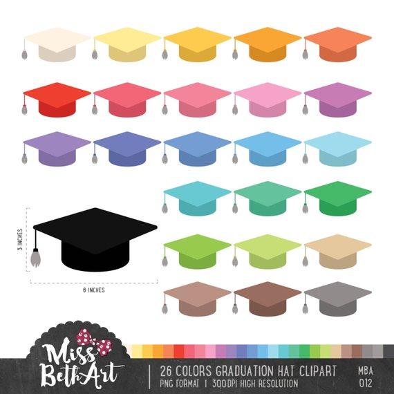 26 Colors Graduation Hat Clipart.