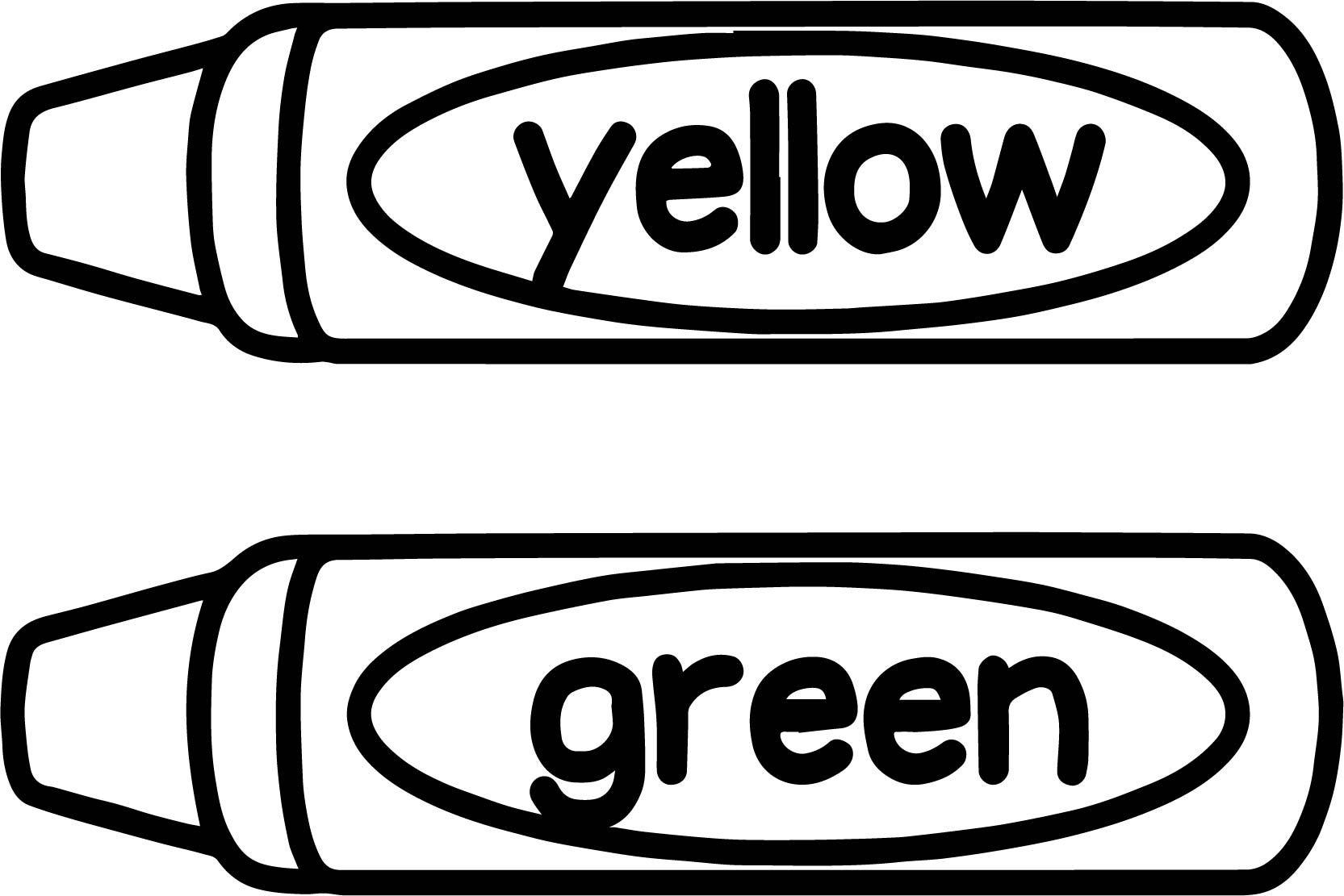 cool Crayon Yellow Green Coloring Page.