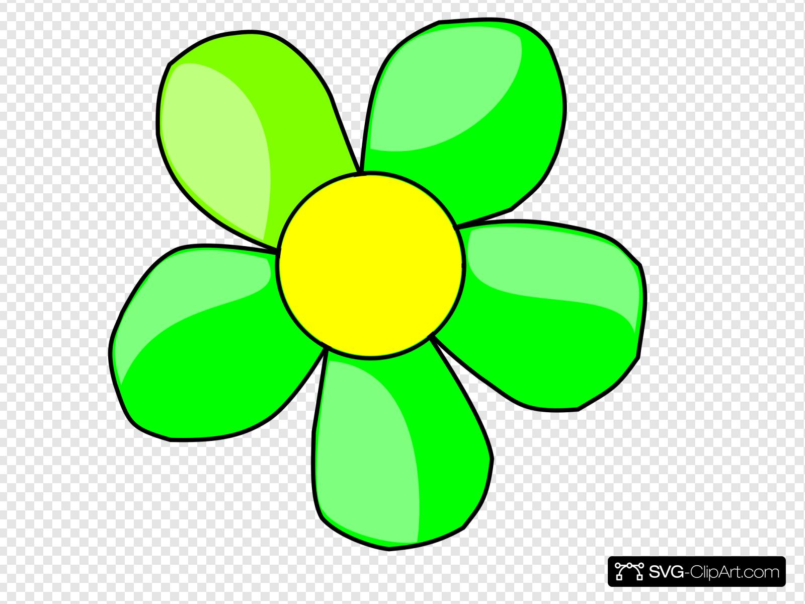 Green Flower Clip art, Icon and SVG.