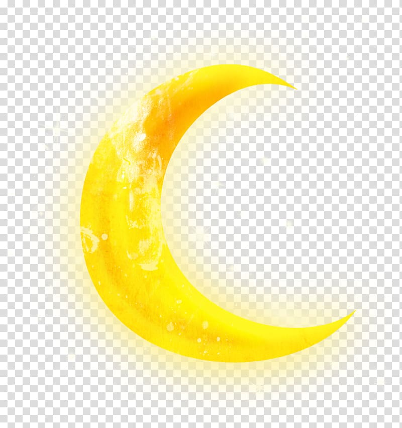 Yellow crescent moon surrounded by stars illustration.