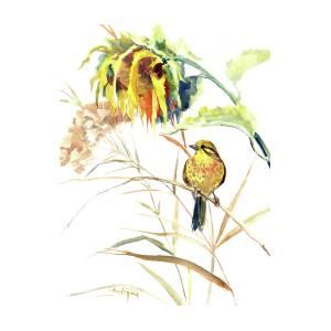 Yellow Bird And Flower, Sunflower And Yellowhammer.