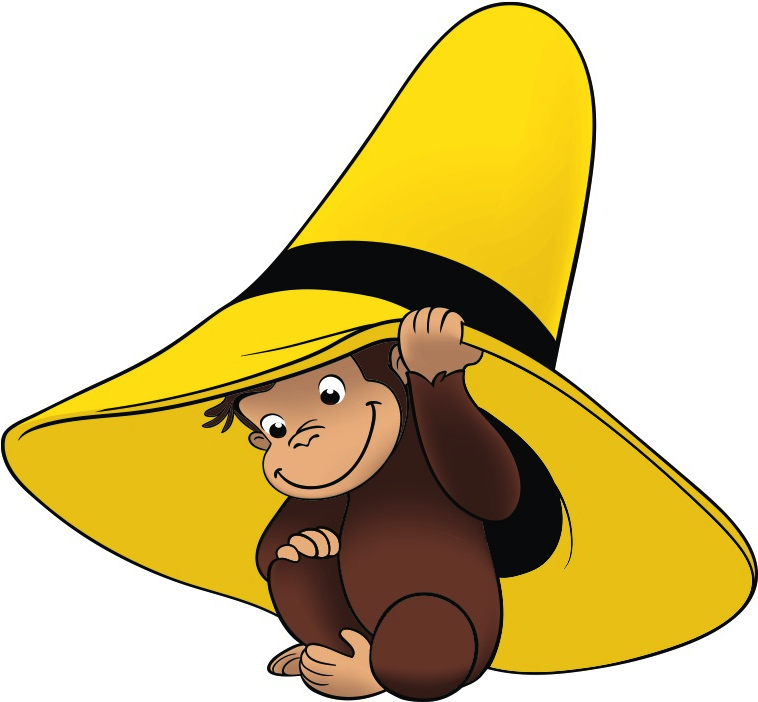 Curious george and man with yellow hat clipart.