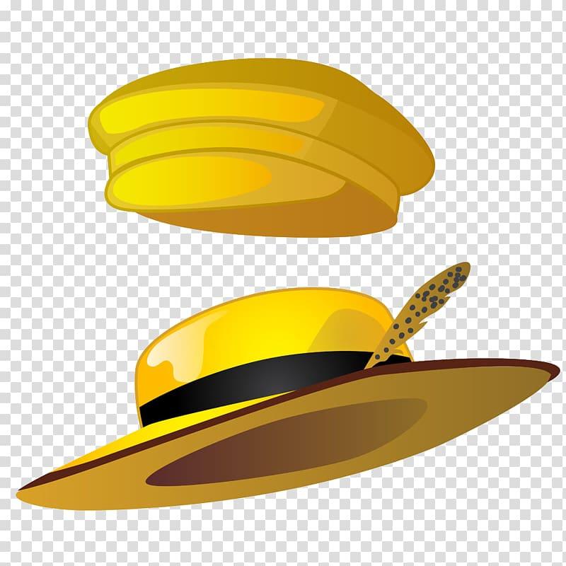 Straw hat Cartoon Illustration, Two yellow hat transparent.