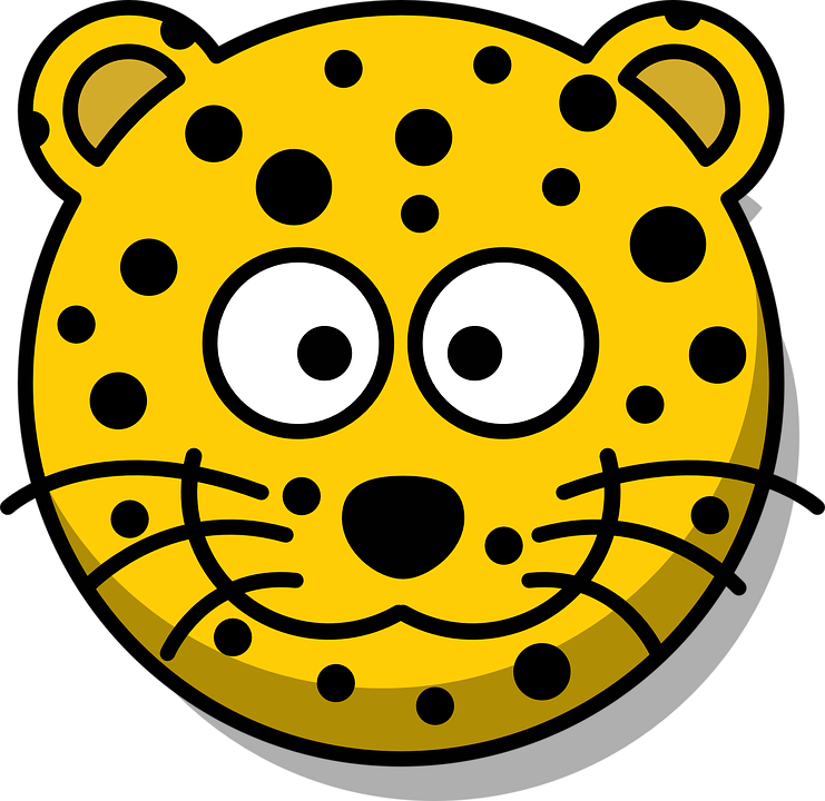 Free photo Leopard Whiskers Cartoon Grin Yellow Head Cute.