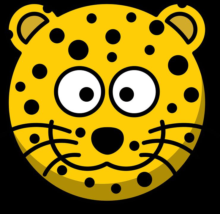 Free photo Leopard Whiskers Cartoon Grin Yellow Head Cute.