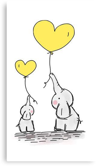 Canvas Print Elephant with Yellow Heart Shaped Balloon.