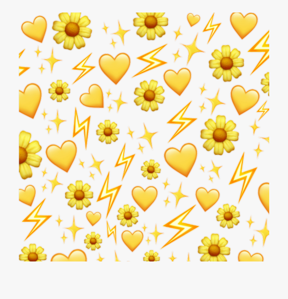 emoji #yellow #hearts #emojisticker #background.