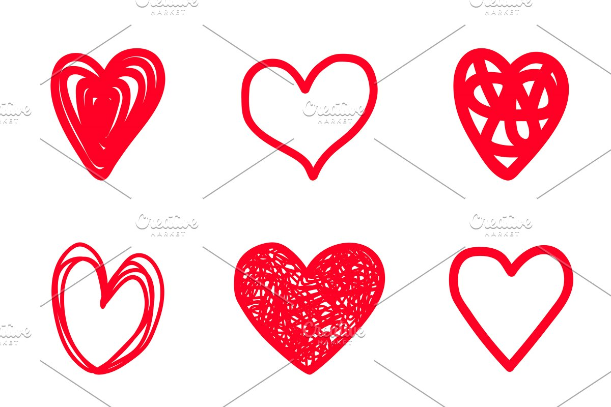 Red highlighter scribble hearts.