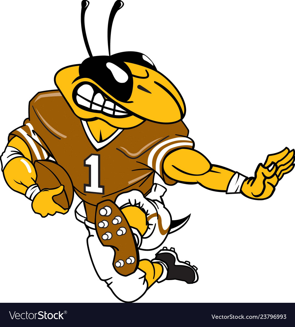 Yellow jacket sports logo mascot football.