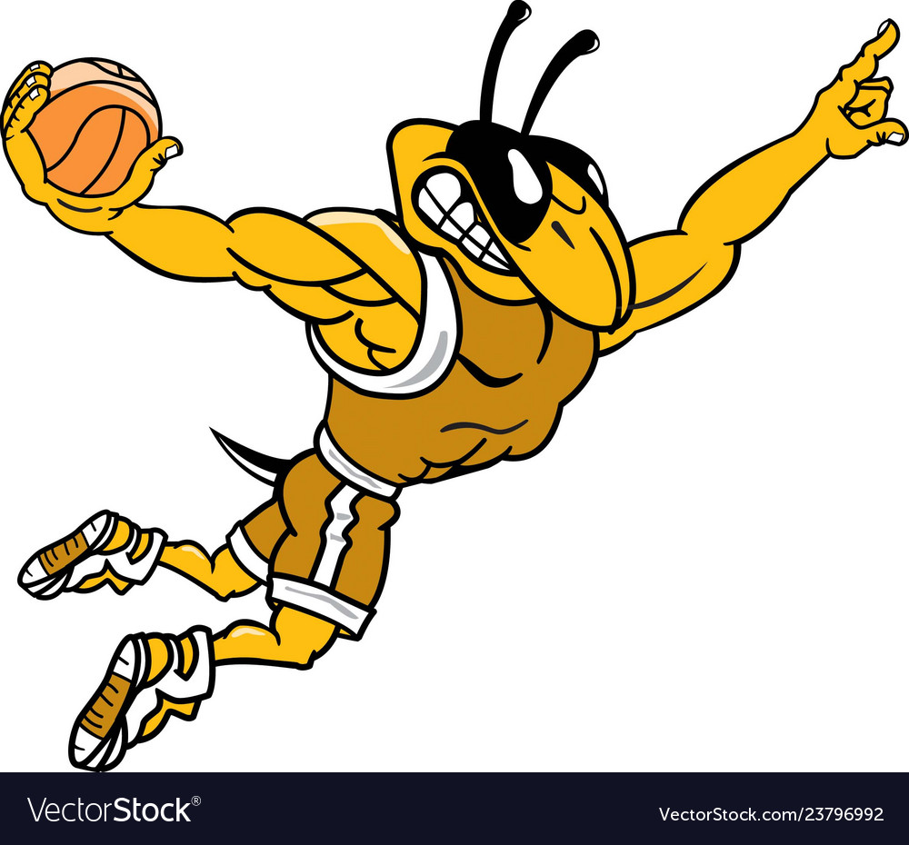 Yellow jacket sports logo mascot basketball.