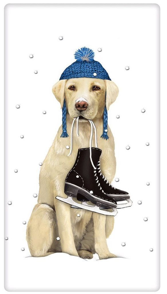 Winter Ice Skating Yellow Labrador Retriever Dog 100% Cotton.