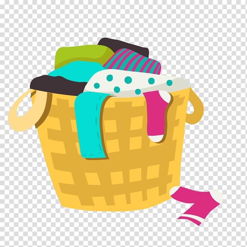Clothes on basket illustration, Washing machine Laundry Dry.
