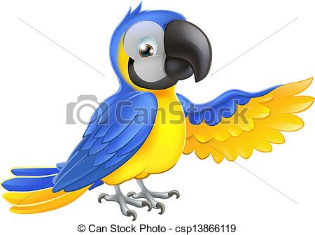 Vector Clip Art of Cute blue and yellow parrot.