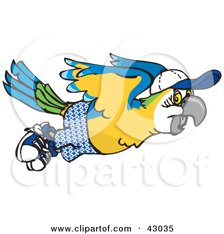 Clipart of a Cartoon Happy Blue and Yellow Macaw Parrot Playing an.
