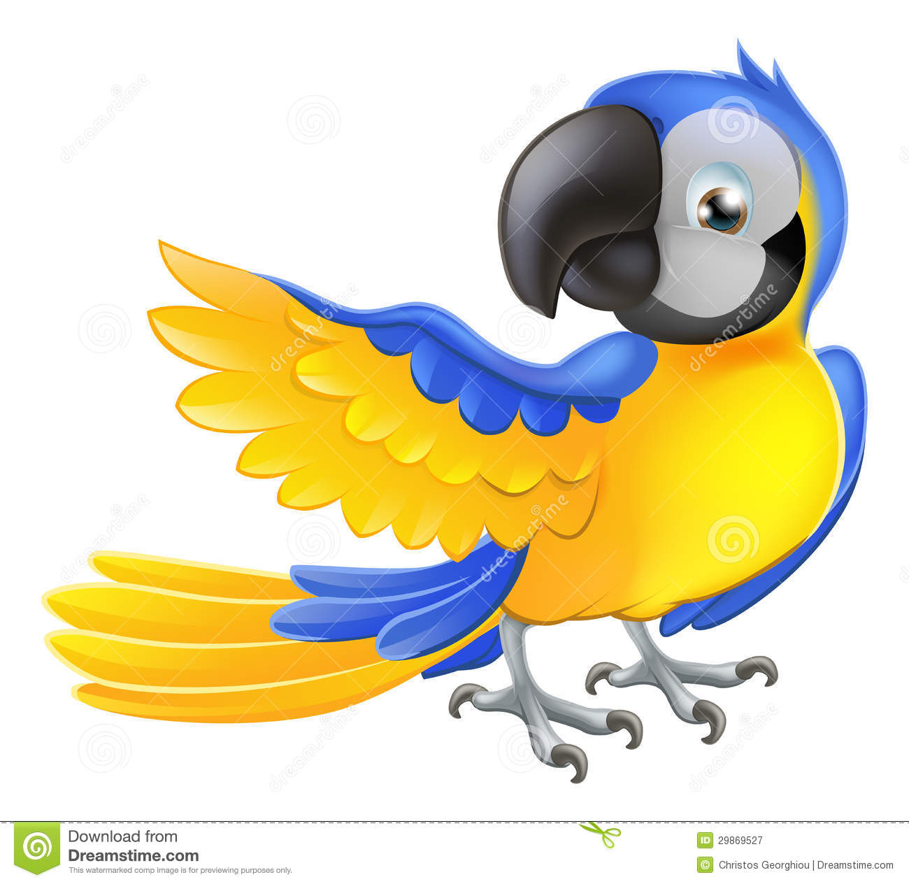 Cute Blue And Yellow Parrot Royalty Free Stock Photography.