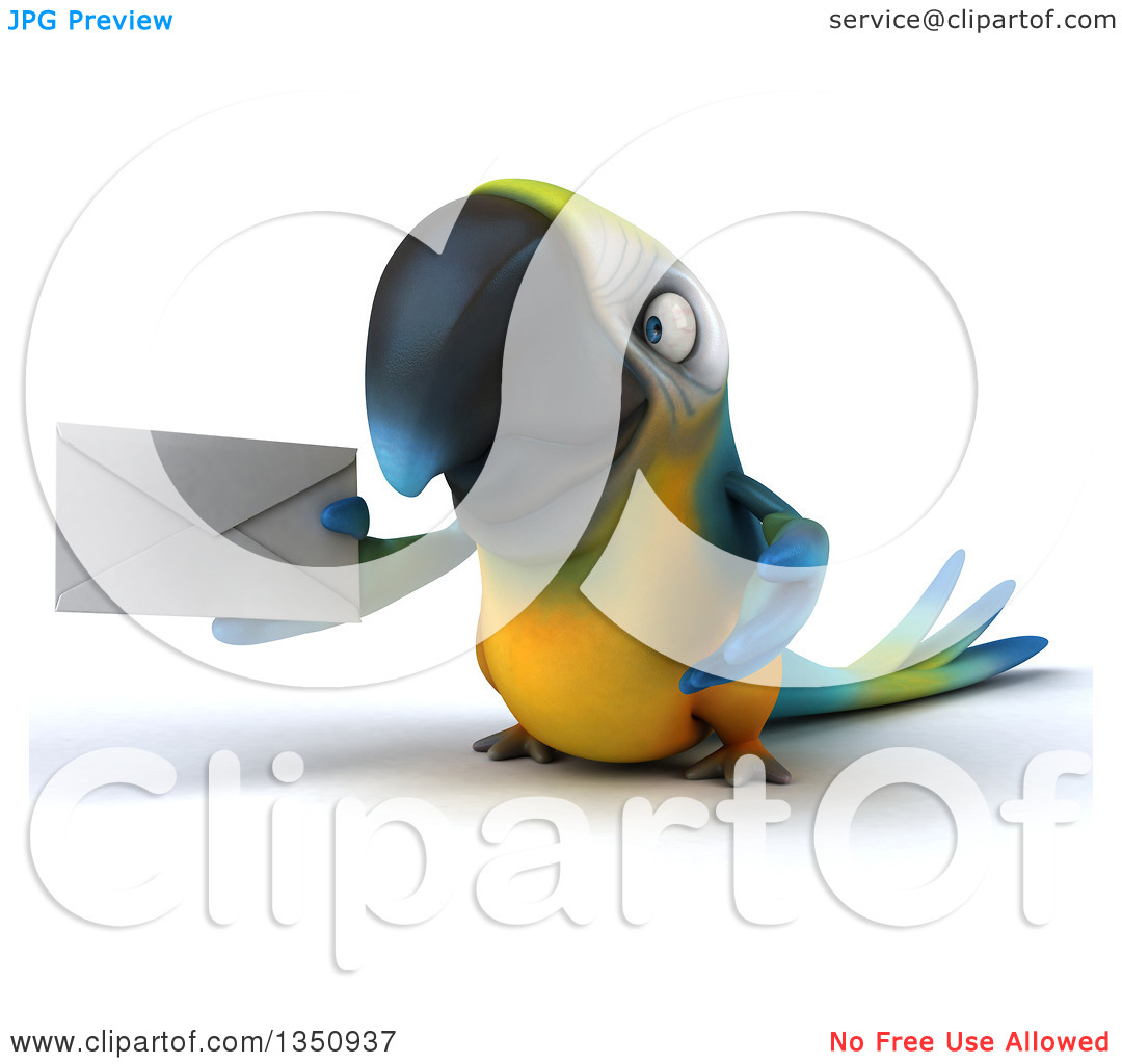 Clipart of a 3d Blue and Yellow Macaw Parrot Holding an Envelope.