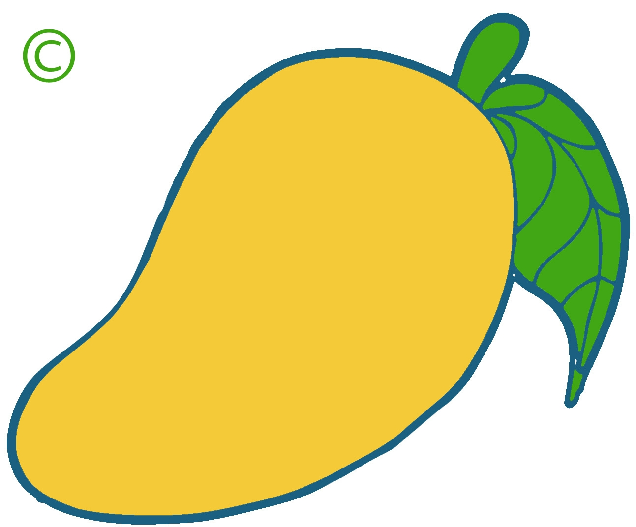 Yellow mango fruit clipart.