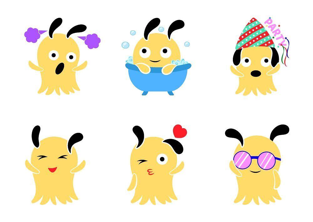 Cute Yellow Monster Illustration monster, cartoon, character.