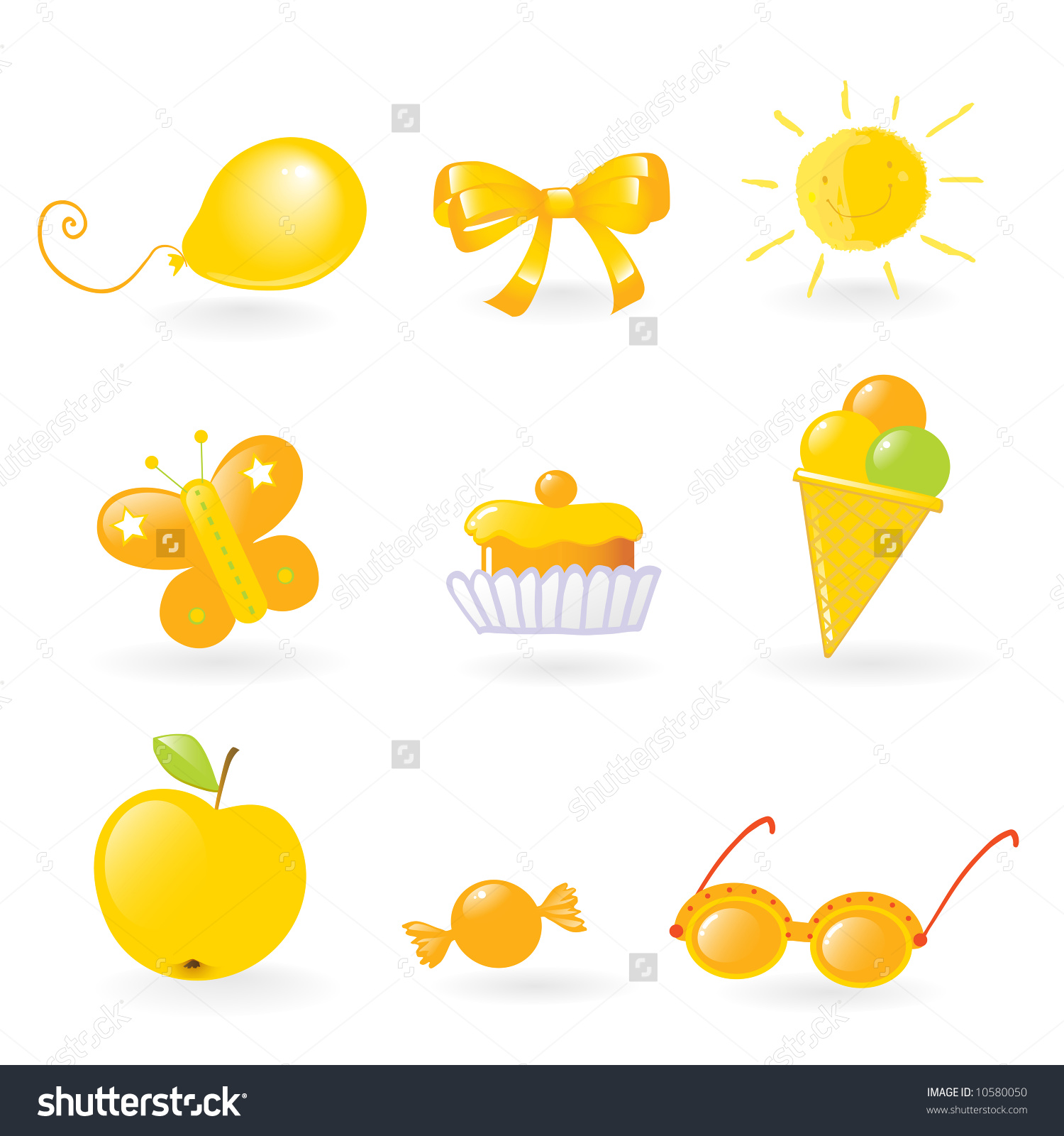Vector Clipart Different Yellow Colored Objects Stock Vector.