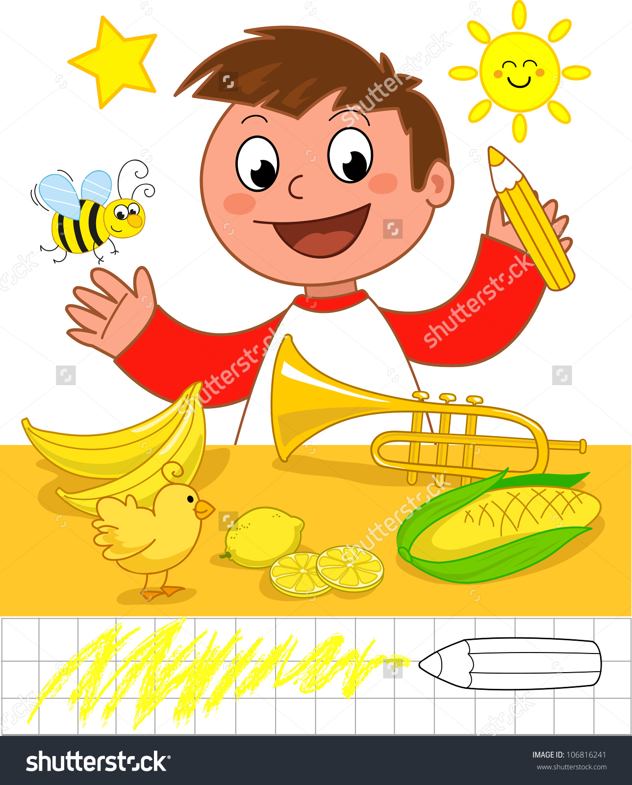 Cute Cartoon Boy Showing Yellow Objects Stock Vector 106816241.
