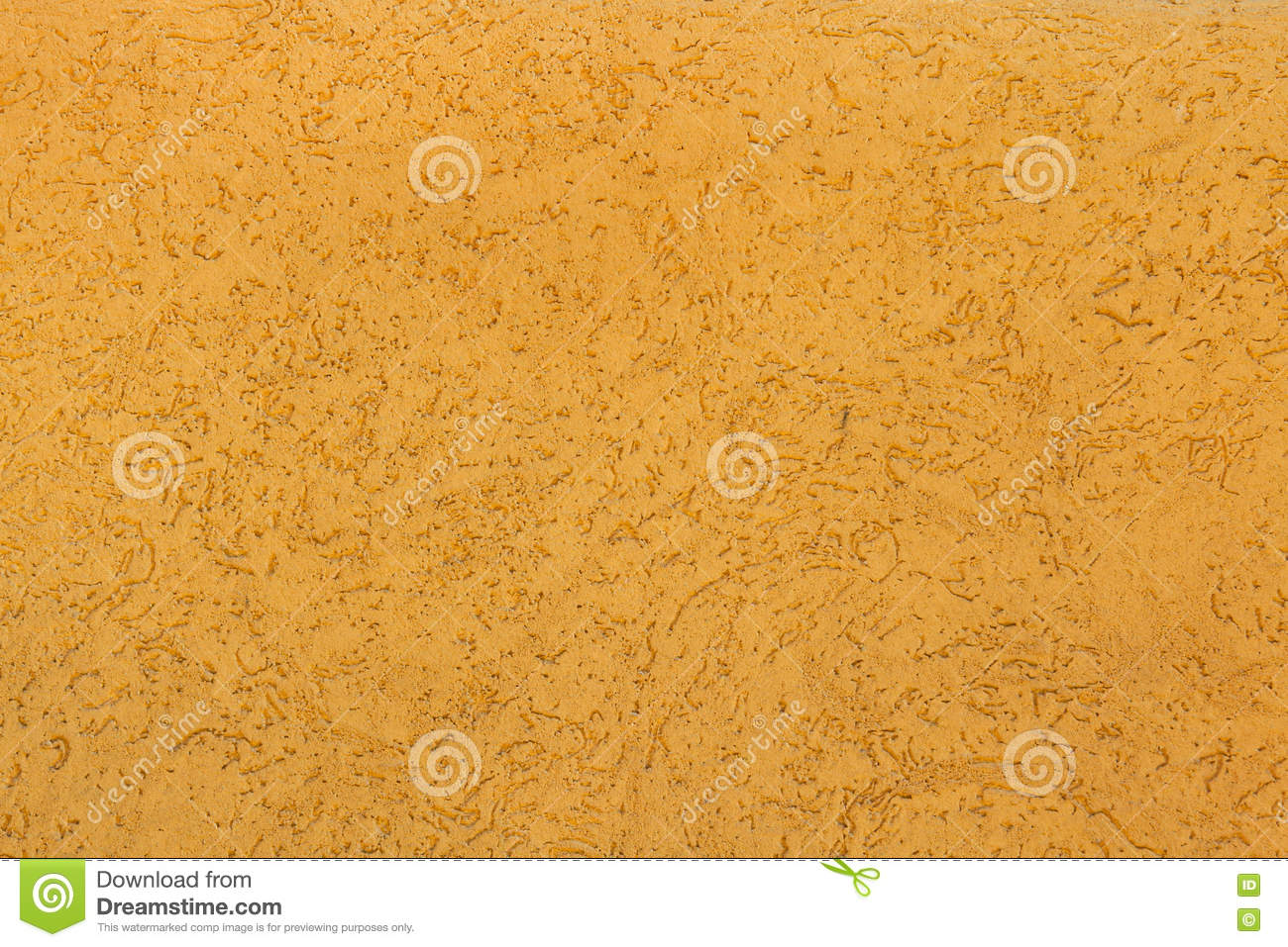 Yellow Ochre Painted Stucco Wall. Background Texture Stock Photo.