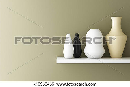 Stock Images of Interior of yellow ochre wall and ceramic on shelf.