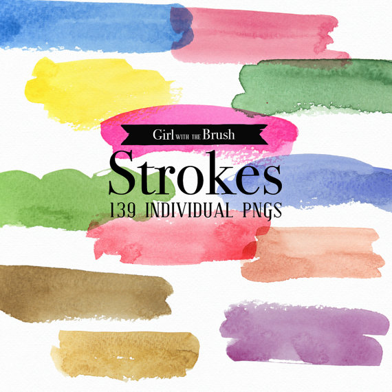 Watercolor clipart strokes banners Yellow by GirlWithTheBrush.