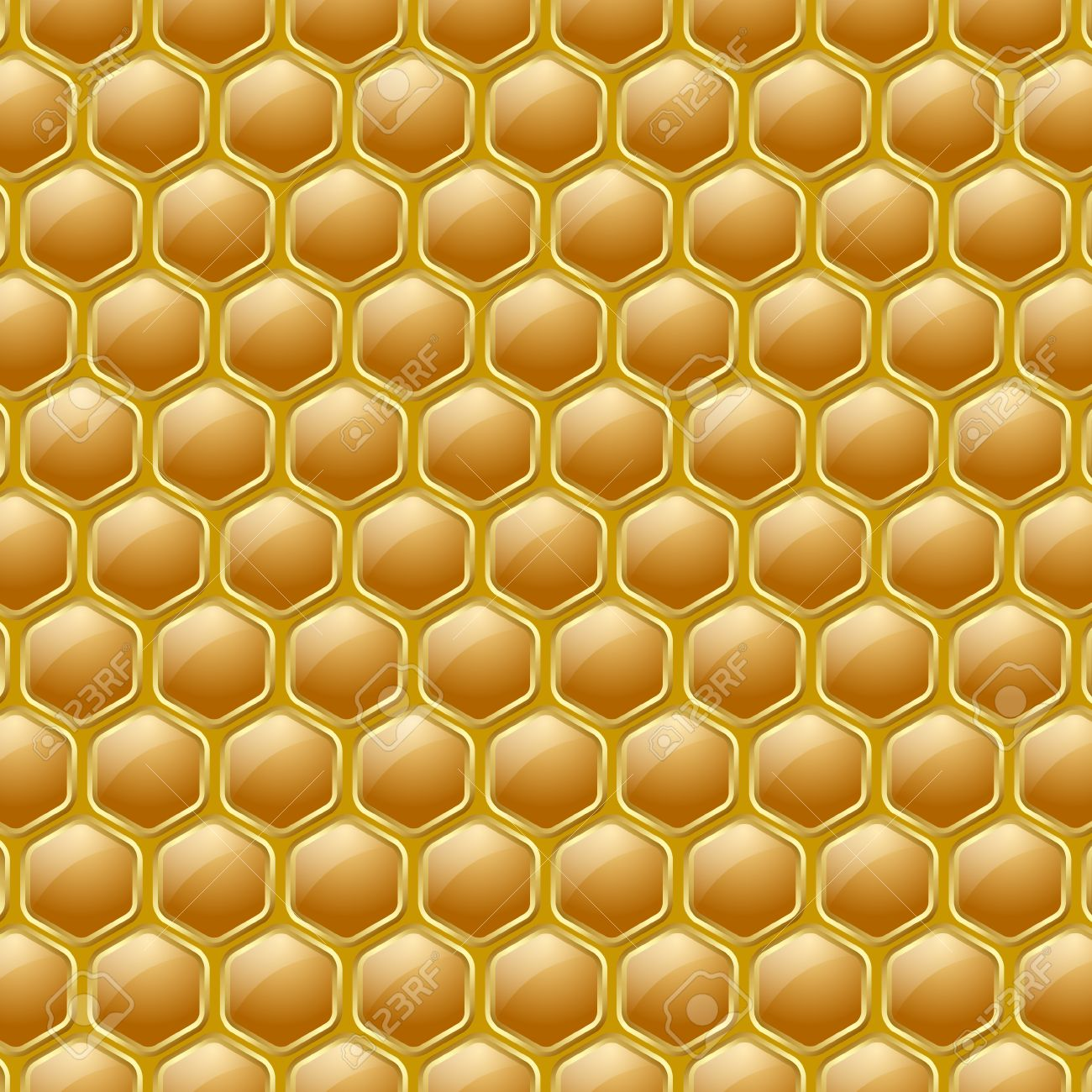 Golden And Glossy Honeycomb Pattern On Yellow Ochre Background.