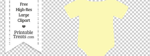 Pastel Light Yellow Baby Onesie Clipart — Printable Treats.com.