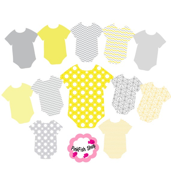 Gray and Yellow Baby Onsie Clip Art.