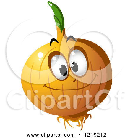 Clipart of a Happy Yellow Onion Character.
