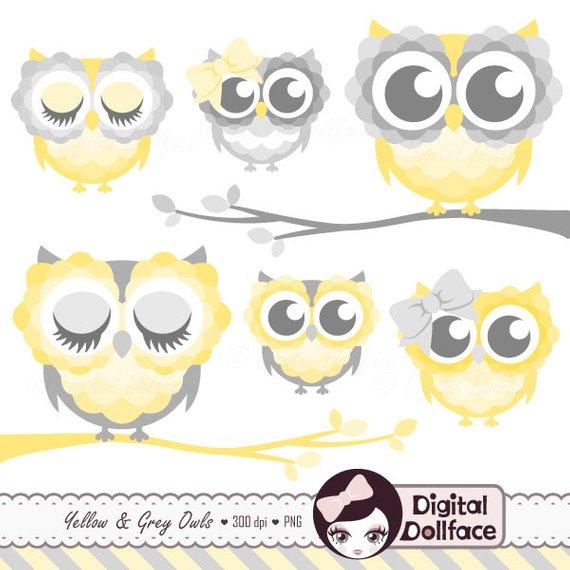 Nursery Owl Clip Art, Digital, Printable Grey and Yellow Owl Clipart.