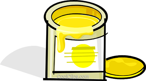 can of yellow paint Royalty Free Vector Clip Art.