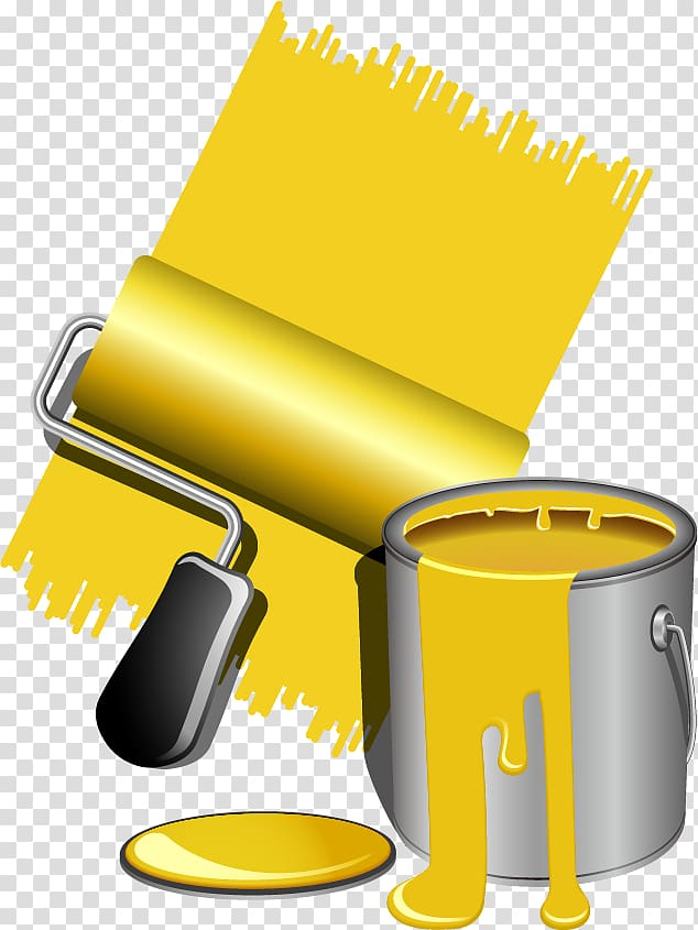 Yellow paint can and brush illustration, Painting Paintbrush.