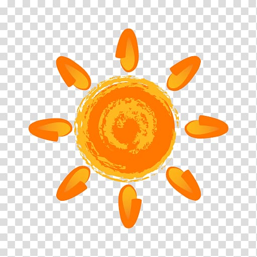 Sun painting , Painting Sun Icon, Hand painted orange sun.