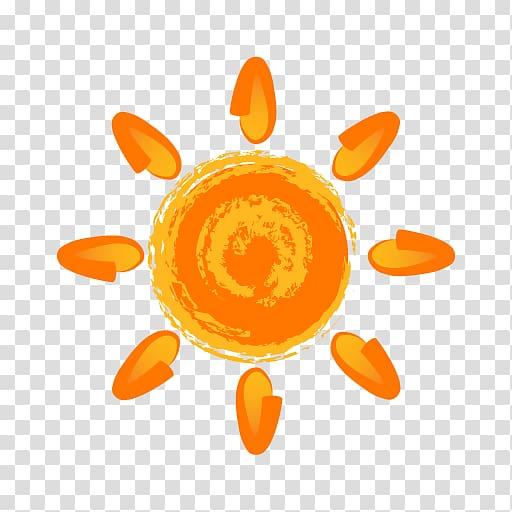 Sun painting , Painting Sun Icon, Hand painted orange sun.