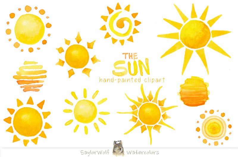 Watercolor Sun Clip Art by SaylorWolf Watercolors on.