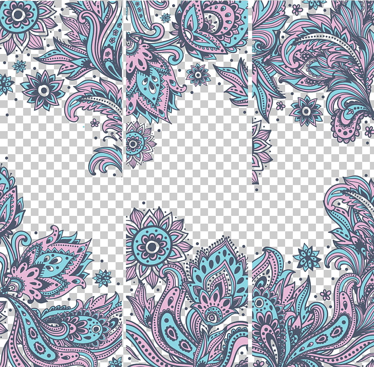 Euclidean Ornament Motif, Vintage background , pink and teal.