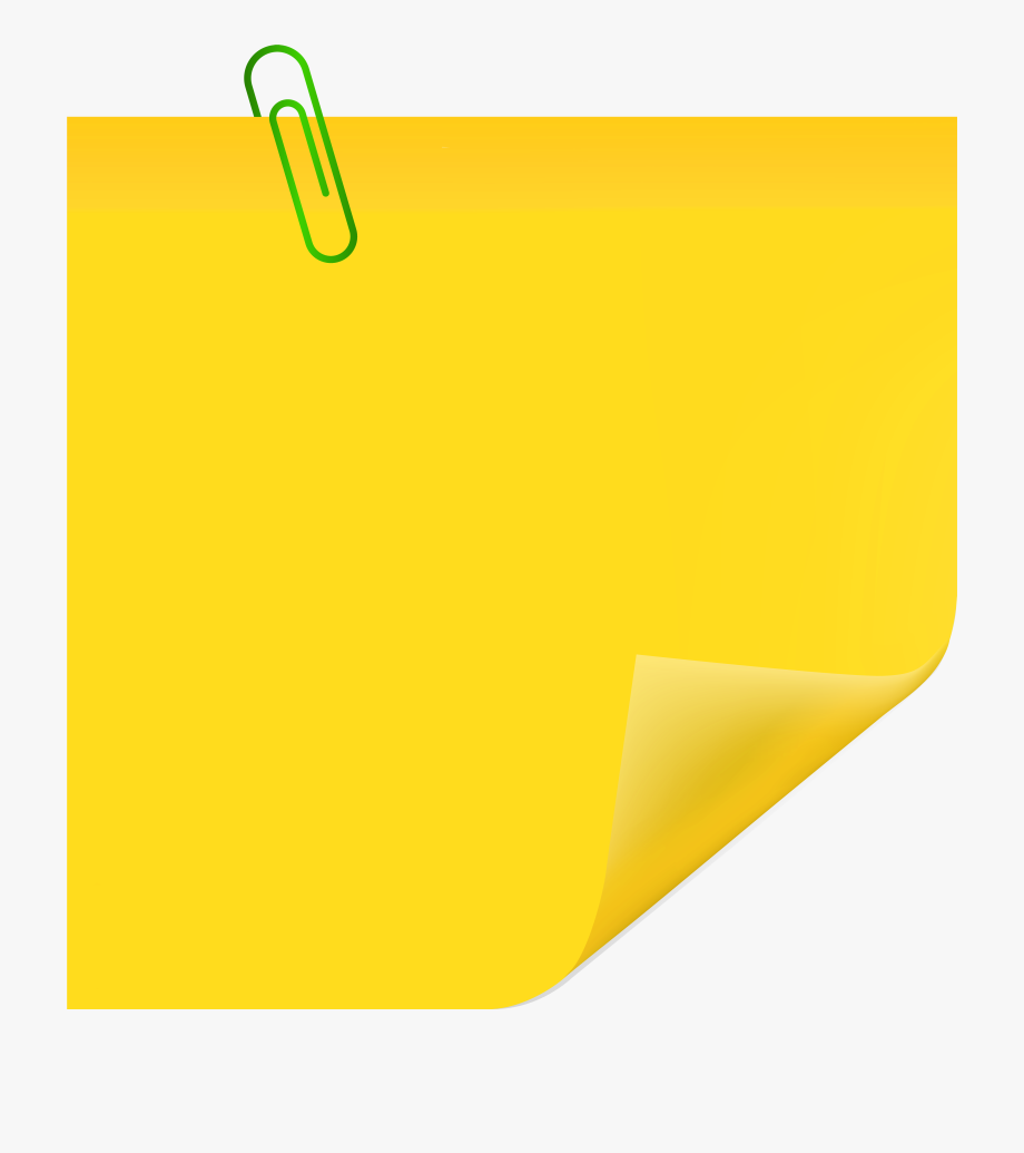 Yellow Sticky Note With Paperclip Png Clip Art.