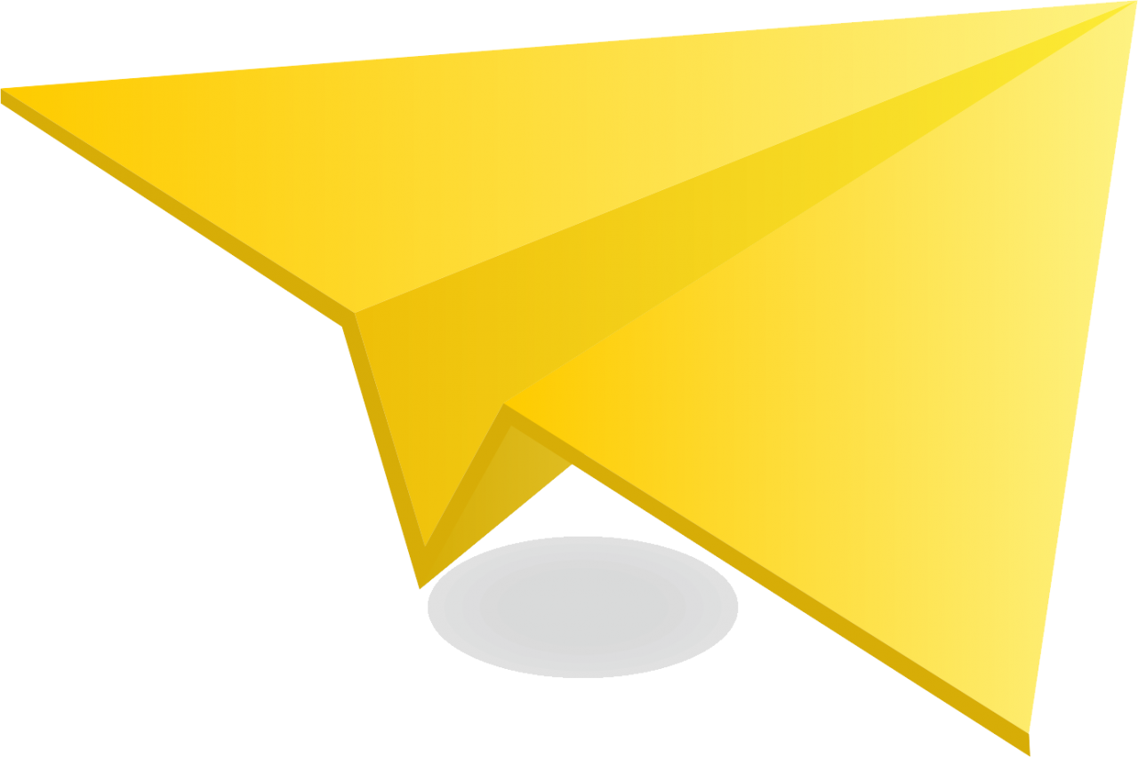 Yellow Paper Plane PNG Image.