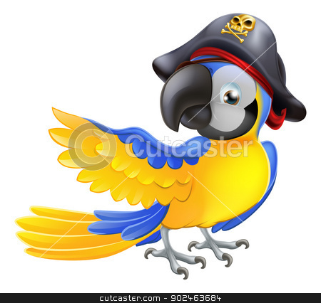 Parrot pirate character stock vector.