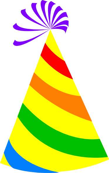 Rainbow Party Hat Yellow Clip Art at Clker.com.