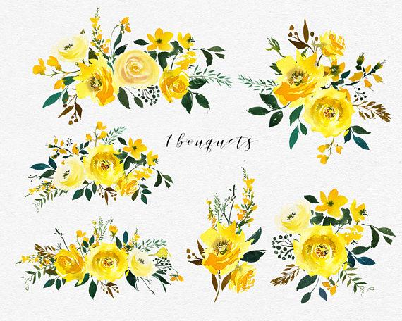 Aquarelle jaune fleurs pivoines Roses ensemble Clipart.